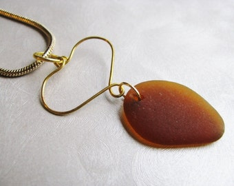 Handmade Jewelry Wire Heart - Brown Sea Glass Pendant - Beach Glass Pendant - Prince Edward Island Sea Glass - Ocean Gifts of the Sea
