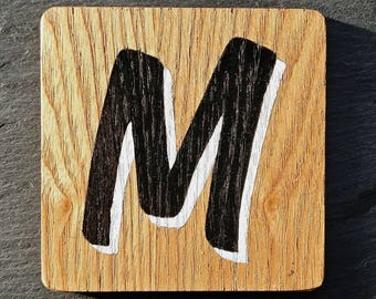 Hand Painted Wooden M Coaster