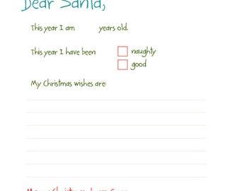 Santa List Printable