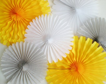 Yellow gray white tissue fans for photo backdrop, hanging decorations, table backdrop paper fans, Large paper pinwheel backdrop