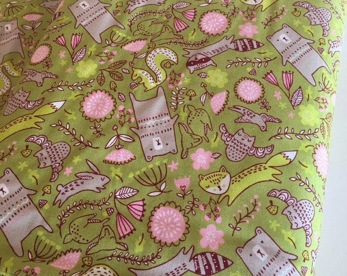 Woodland Nursery fabric, Modern Baby Quilt fabric, Girl Woodland Quilt, Rustic baby quilt, Bear, Forest Furries in Green, Choose the cut