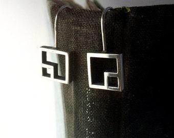 Sterling Silver Carré Earrings