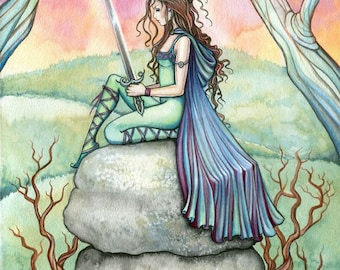 Guinivere Fine Art Fantasy Print by Molly Harrison 9 x 12  'Contemplating Guinivere' - Fairy Tale - King Arthur - Illustration
