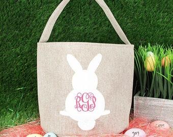 Monogrammed Bunny Easter Basket | Neutral Easter Basket| Easter Basket For Boys | Personalized Easter Basket | Easter Basket with Ears