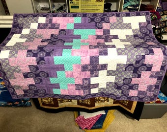 Purple and Teal Plus Quilt