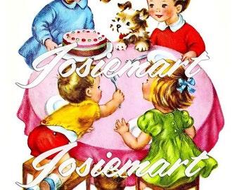 Vintage Digital Download Birthday Children at Table with Cake Vintage Image Collage Large JPG