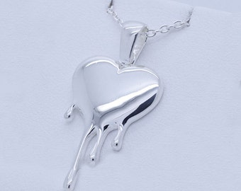 Sterling Silver Melting Heart Pendant with chain and gift box