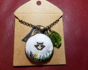 Owl cross stitch necklace