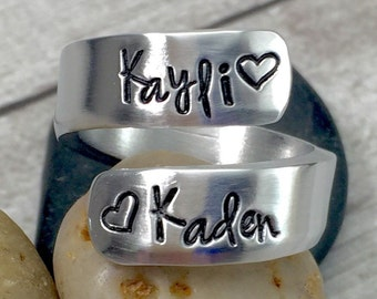 Gift for Mom - Name Ring - Personalized Ring - Thumb Ring - Mom Ring - Mother Ring - Mommy Ring - Wrap Ring - Hand Stamped