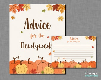 Pumpkin Advice for The Newlyweds Printable, Pumpkin Bridal Shower Advice Game, Fall Bridal Shower, Floral Autumn Rustic Bridal Shower Advice