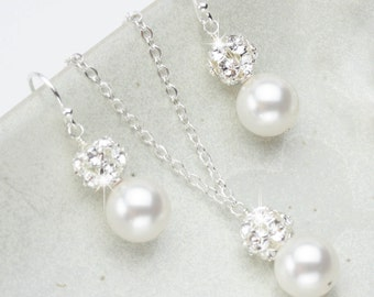Pearl Jewelry Set, Necklace and Earring Set, Wedding jewelry for the Bride, Bridal Jewelry Set, Pearl Wedding Jewelry Set