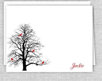 Red Birds in a Tree Personalized Note Cards - Stationery