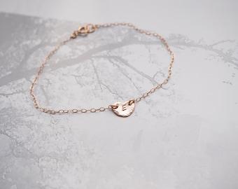 Rose Gold Initial Bracelet, Rose Gold Heart Bracelet, Tiny Rose Gold Heart Initial Bracelet