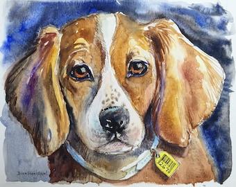 Beagle Painting, Beagle Art, Dog Art, Watercolor Painting, Original Painting on Paper, Animal Art, Vegan Art, Animal Rights, Cruelty Free