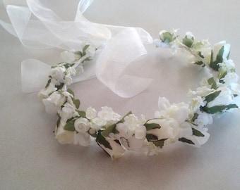 Bridal Hairpiece White Wedding Day Rose Flower Crown Veil Alternative hair Wreath traditional floral circlet accessories headpiec artificial