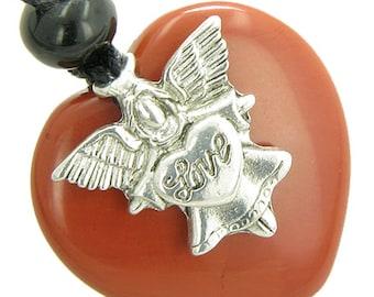 Guardian Spirit Angel Love Heart Amulet Believe Red Jasper Gemstone Pendant Necklace