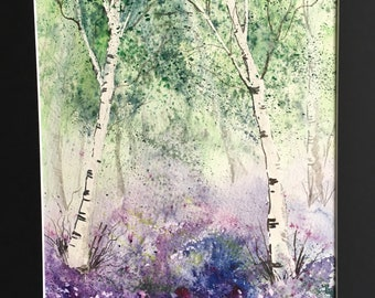 Original watercolour painting of Bluebell Woods