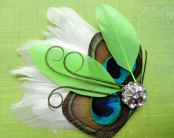 LINNY in Lime Green and Natural Peacock Feather Hair Clip, Feather Fascinator