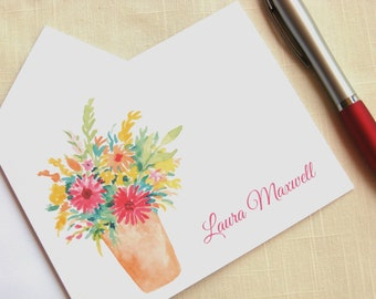 Personalized Floral Note Cards - Flower Bouquet - Flowers in a Vase Stationery - Watercolor Flowers