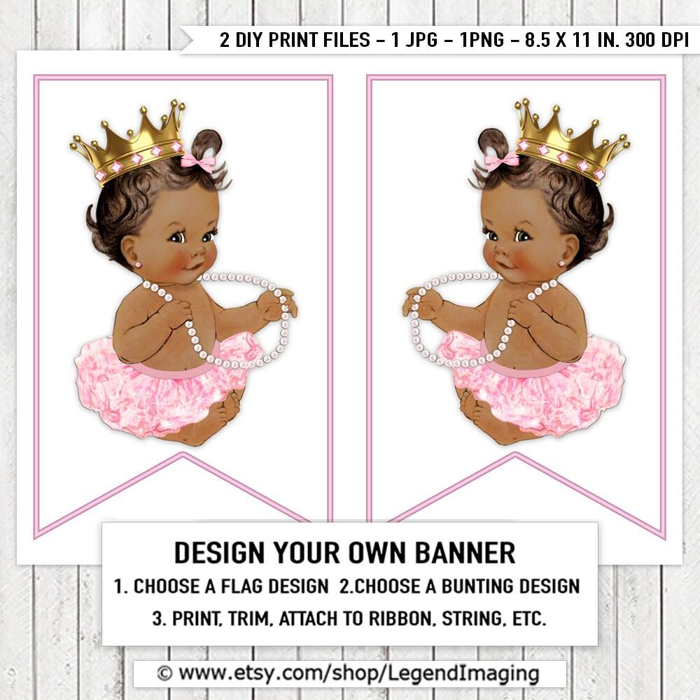 Pink Ballerina Princess Tutu Pearl Baby Shower Banner Bunting