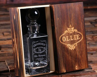 Personalized Engraved Etched Whiskey Scotch Decanter Bottle with Optional Wood Box Groomsmen Boyfriend Men's Gift (025823)