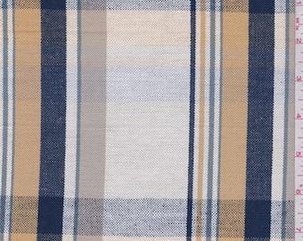 White/Gold/Navy Plaid Linen, Fabric By The Yard
