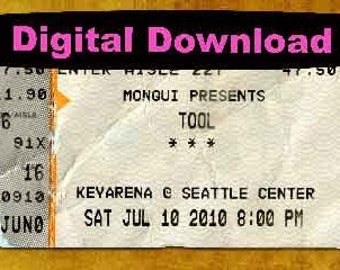 TOOL Concert Ticket Stub, Seattle, WA 2010