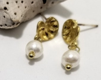 Elegant 6mm Pearls in a Gold Plated Leaf Drop Post Stud Design #602