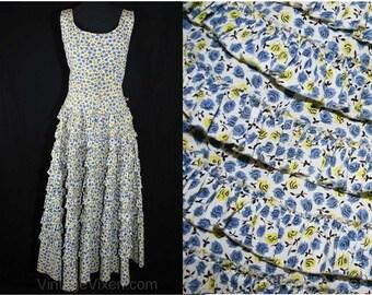 XXS Darling 50s Blue Roses Sun Dress with Tiered Ruffle Skirt - Size 0 Summer Dress - VLV - Rockabilly - Pin Up Girl - Waist 23 - 39199