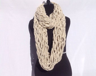 Chunky Infinity Scarf in Speckled Oatmeal (Arm Knitted)