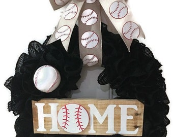 Black burlap baseball wreath