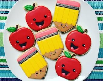 One Dozen Pencil and Apple Sugar Cookies
