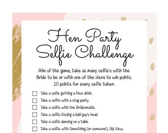 Hen Party games. Hen Party Selfie/Photo challenge. Hen Party Game. Printable Hen party game