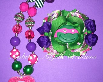 Ninja Turtle (Purple) Bow With Matching Necklace