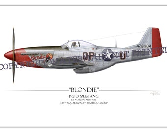 "P-51 Mustang - ""Blondie"" Marvin Arthur WW2 Aviation Warbird Art Print"