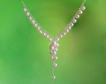 Bridal Necklace, Freshwater Pearls AAA, Wedding Jewelry, Bridal Pearl Necklace, Bridal Jewelry, Drop Pearl Necklace, Pearl Wedding