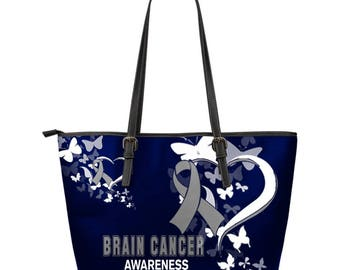 Brain Cancer Awareness Leather Tote Bag