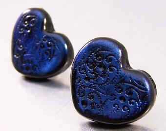 Blue Hearts Polymer Clay Earrings Post Earrings