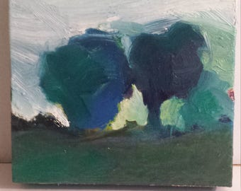 original painting, small scale oil painting on canvas, contemporary art, impressionist  painting, abstract landscape painting, tree painting