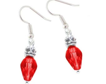Red Faceted bead Christmas Lights earrings on hypoallergenic earwires