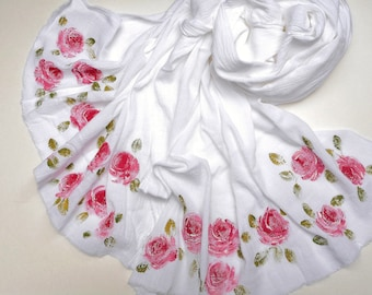 Romantic Rose Scarf Hand Painted Soft Lightweight White Cotton Gauze Fringed Scarves