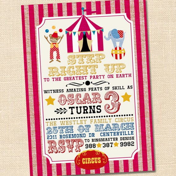 Circus Birthday Invitation Circus Themed Party Circus First