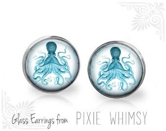 OCTOPUS Earrings, Octopus Stud Earrings, Octopus Post Earrings, Nautical Earrings, Stud Earrings, Post Earrings, Pierced Earrings, Kraken