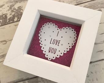 Mini Valentines Paper Cut Frame