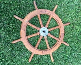 "Antique Nautical 36"" Wooden Oak Vintage 8 Spoke Ship Wheel as featured in Country Living Magazine July 2017/Vintage Nautical Decor"