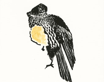 Limited Edition Hand-Printed Linocut - Peregrine with a gold heart
