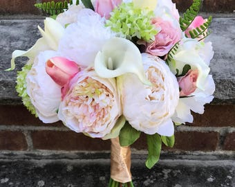 Bridal bouquet, silk flowers , rose, peonies ,wedding bouquet,bridal bouquet , New York style, artificial flowers pink, grern,white