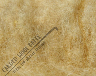 Sand Light Brown Carded Wool Batts For Needle Felting | 100% Sheep Wool | Needle Felting Wool | Available in Different Shades