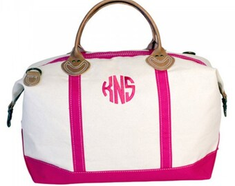 Pink Monogrammed Canvas Weekender Bag, Monogrammed Canvas Overnight Bag, Canvas Sachel, Hospital Bag, Personalized Canvas Weekender