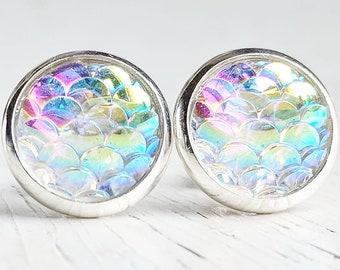 Opal Mermaid in Silver Settings Stud Earrings, Mermaid Jewelry, Gift for Her, Minimal Earring, Dainty Earring, Stud Earring, Hypoallergenic